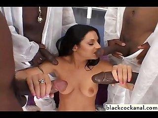 Bikini slut black cock worship