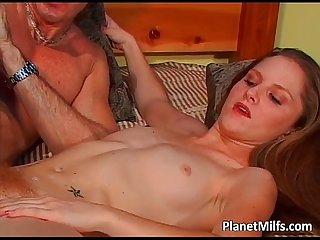 Big massive cock goes deep in milf hairy