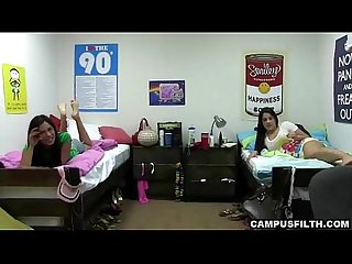 Two college girls alone in their room showing their bodies