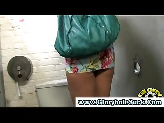 Gloryhole loving blonde gets off