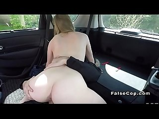 Fake cop fucking blonde amateur in car