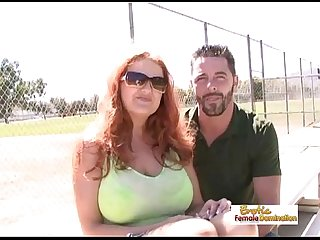 Incredibly busty redhead MILF getting drilled hardcore