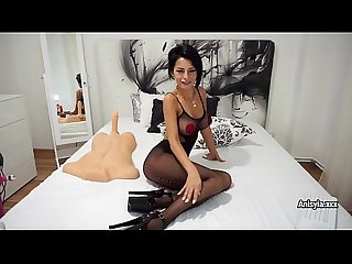 Busty sex bomb anisyia in fishnet bodysuit plays with sex toys