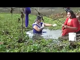 Bangladeshi sexi girls open bath in a ponds