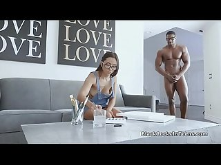 Perky painter blows models big black cock