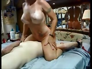 Hot milf riding face dildo