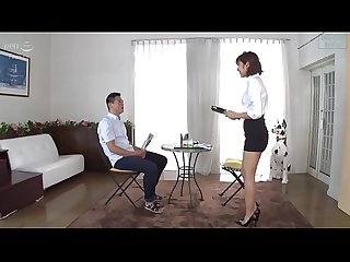 Cute Slender Asian Ryo in Black High Heels and Short Skirt