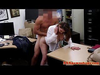Curvy busty pawnshop office babe fucked POV