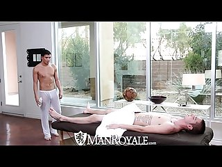Manroyale liam troy gets his ass pounded on the massage table