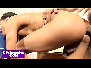 Natural ebony tgirl nailed by muscular stud