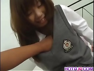 Babe in uniform Misa Kurita is seduced and undressed for a wild session