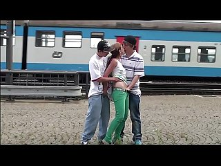 Alexis Crystal aka anouk public gangbang group sex at a Train station