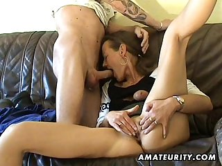 Amateur milf toys her pussy sucks and fucks with cum