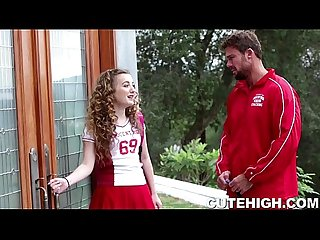 Cheerleader seduces coach