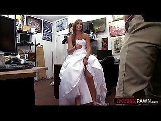 Sexy and beautiful bride sells her wedding dress and gets fucked