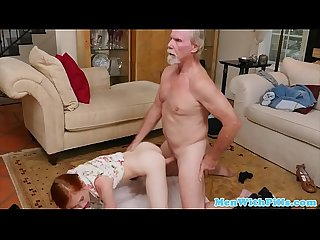 Tiny redhead sucks and fucks with pensioner
