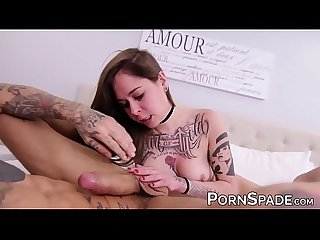 Amateur cutie sucking Bo Sinns monster dick while fingered