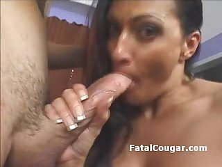 Huge boob experienced cougar tittyfucks big dick and gives amazing Wet blowjob