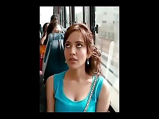 Neha Sharma boobs showing Cleavage in Bus