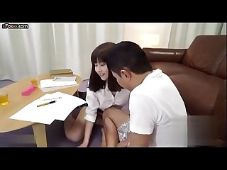 Sexy Japanese private teacher assists her student with sex class