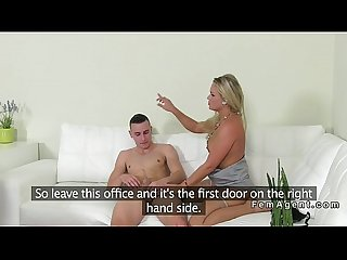 Blonde female agent sucks and fucks amateur dude