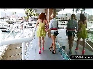 Nasty teenies kiss and show twats in public