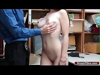 Brunette shoplifter seduces lp officer