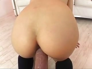 Japanese masturbating with dildo