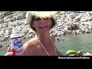 Busty cougar deauxma muff dives at texas swinger boat party