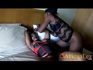 EBONY AMATEUR TIED UP BY LESBIAN FRIEND AND GETS PUSSY EATEN