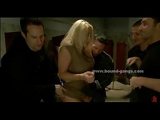 Blonde busty woman rough gang bang sex