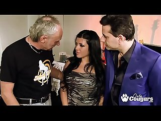 Amanda black has A threesome with two much older men