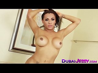 Mesmerizing Jessy Dubai stuffs her asshole with dildo