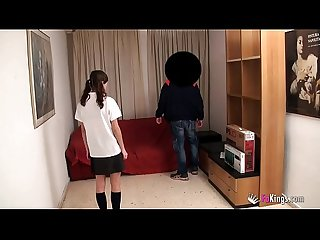 Young Petite schoolgirl Ainara wants to fuck the IT guy and film it