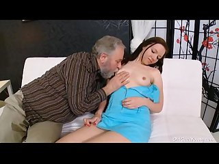 Old goes young gorgeous babe is ready to suck cock of old dude