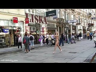 Sweet blonde teen Mina naked on public streets