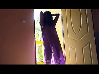Desi girl dancing in transperent nighty boobs visible in balcony bouncing boobs