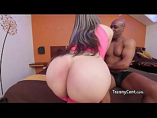 Shemale banging black shaft