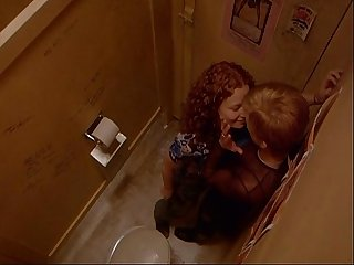 Lesbian sex in club toilet
