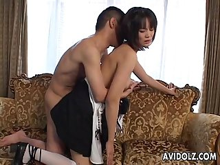 Asian wife has a sexy cosplay session as a maid