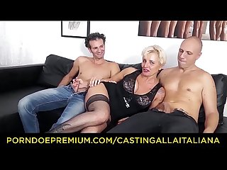 Casting alla italiana mature italian blonde gets dp and cum on feet in Hot ffm threesome
