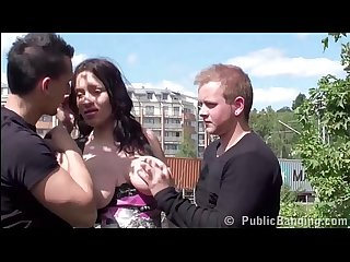Cum on face of pregnant big tits star Stella Fox in PUBLIC sex street threesome