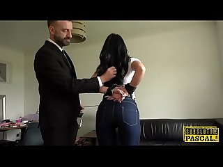 Handcuffed uk milf edged while cockriding dom