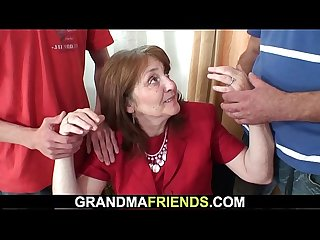 Old mature threesome in the office