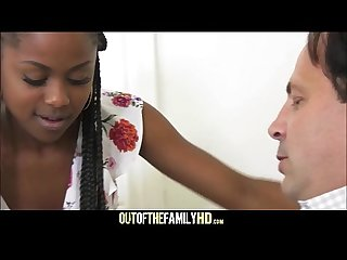 Cute petite black stepdaughter amilian kush fucked by white stepdad