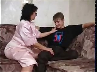 Russian mature mom and her boy