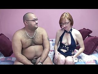 Redhead milf fucks a fat man with a small dick