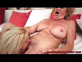 Teen babe masturbating with grandma