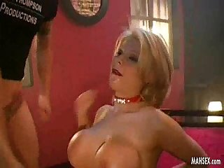 Blonde babe with most beautiful and biggest tits gives mouth fucking