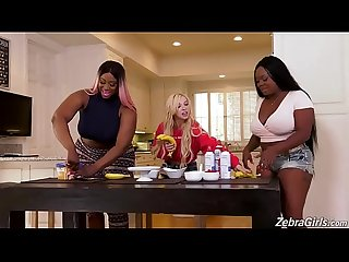 Big ass ebony get horny and make a lesbian threesome with petite blonde